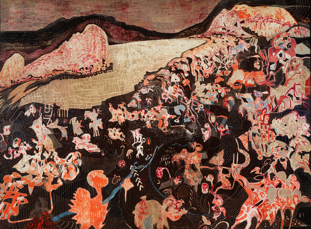JOSHUA YELDHAM, Lion Island, Pittwater, acrylic and cane on hand carved board, 191 x 253.5 cm